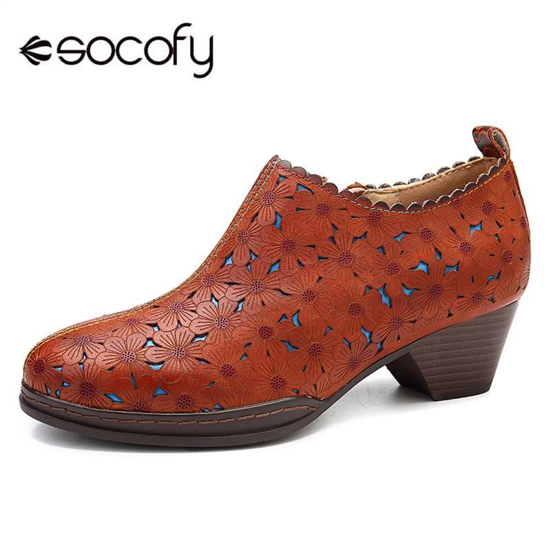 Socofy 레트로 보헤미안 여성 펌프 꽃 패턴 중공 정품 가죽 뒤꿈치 편안한 바느질 지퍼 펌프 숙녀 신발-에서여성용 펌프부터 신발 의  그룹 1
