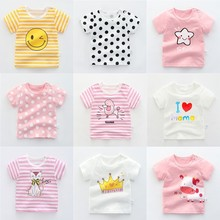 hot deal buy casual infant baby tops 100% cotton short-sleeved baby girl shirts cute cartoon printed baby clothing