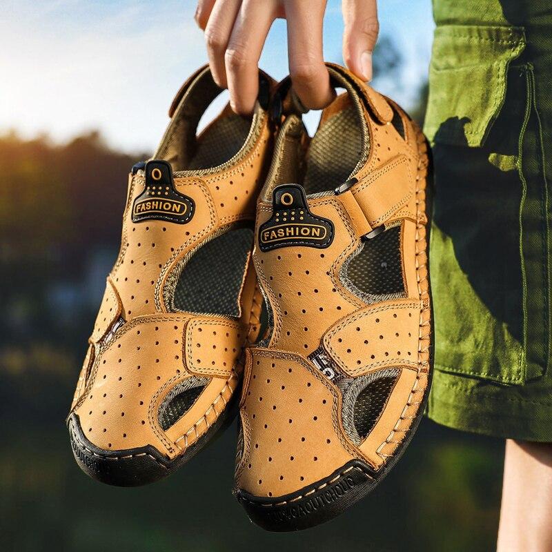 9905jinhuang Hombre De Verano Para Cómodos Casual Ouitdoor 9905anzong Hombres Genuino Sandalias Zapatos Estilo Cuero Playa Pescador 9905qianzong Alta Calidad awdfa1