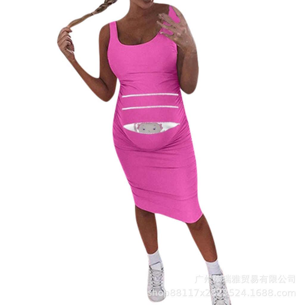 2019 костюм-платье, однотонный жилет без рукавов, длинное платье для беременных