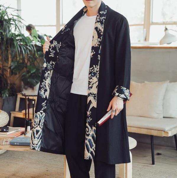 #4327 Frühling Herbst Vintage Traditionellen Chinesischen Langes Kimono Mantel Männer Leinen Windjacke Strickjacke Plus Größe 5xl Lose Jacke Männlichen