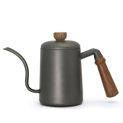 Gooseneck Tea Kettle Long Narrow Spout Coffee Maker With Wooden Handle 600 Ml Suitable for home,kitchen,office,coffee shop,tea