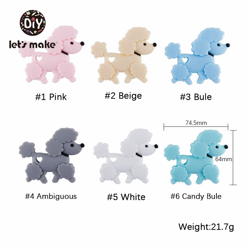 Let's Make Silicone Beads Of Cartoon Puppy Shape Teething Nursing DIY Beads 1pc Pacifier Clips Making BPA Free For Baby Teethers