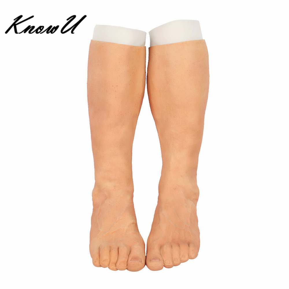 Silicone Prosthesis Foot Sleeve Highly Simulated Skin Artificial Leg Cover Scars leg model modelo