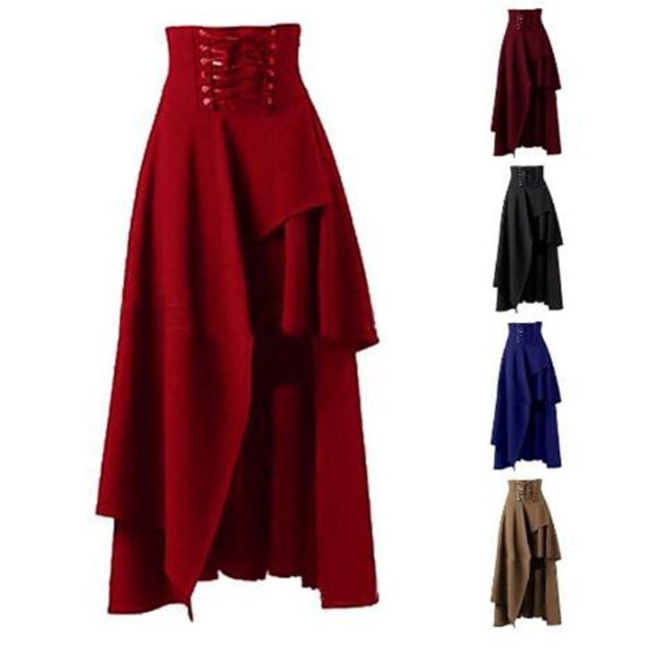 S-2XL Women Steampunk Vintage Rockabilly vintage Clothing Party Lolita Skirt Gypsy Hippie skirt costume Medieval Steampunk Skirt