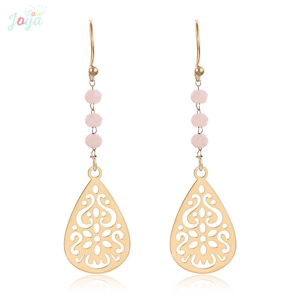 Badu Boho Earrings Flower Stainless Steel Earrings Women Gift Hollow Crystal Fashion Dangle Earrings Statement Earrings