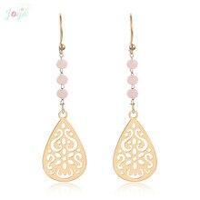 Badu Boho Earrings Flower Stainless Steel Women Gift Hollow Crystal Fashion Dangle Statement