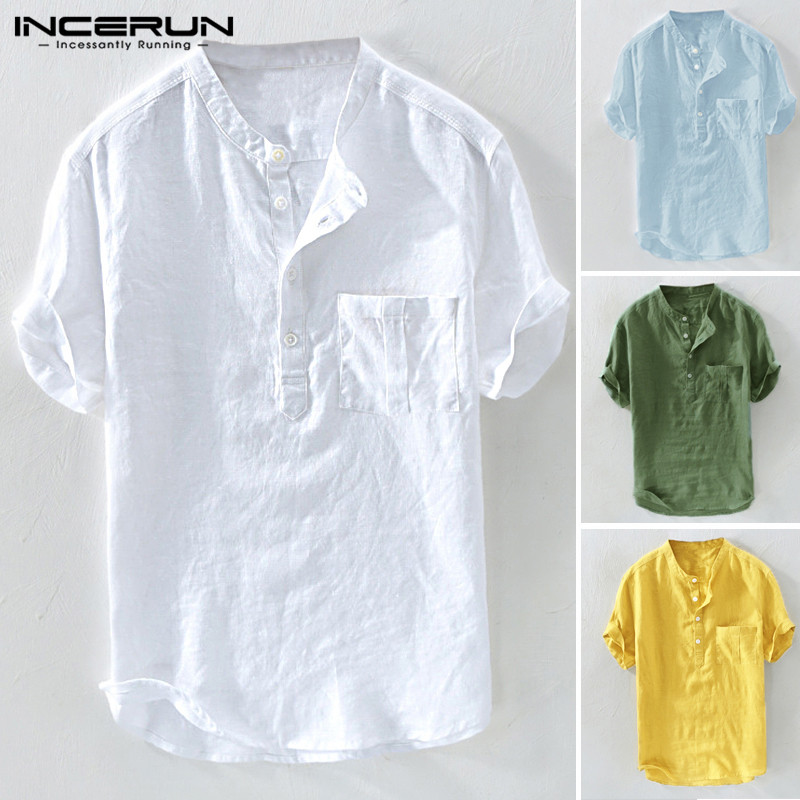 UUYUK Men Basic Chinese Style Stand Collar Button Down Short Sleeve Shirts