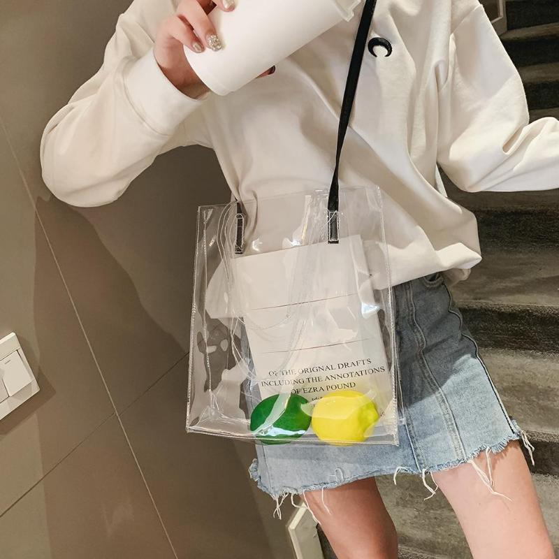 Hot Sale Hologram Transparent Plastic Handbag beach Shoulder bag Women Trend Tote Jelly Fashion PVC Clear Bag
