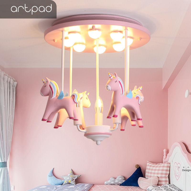 Artpad Lovely Princess Resin Pony Pink Ceiling Light Kid Girl Children Room Ceiling Lamp Decoration Bedroom