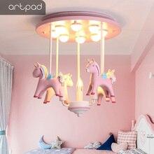 Artpad Mooie Prinses Hars Pony Roze Plafondlamp Kid Meisje Kinderen Room Plafondlamp Decoratie Slaapkamer Kleuterschool Nursey