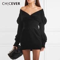 CHICEVER Sexy Off Shoulder Dress For Women V Neck Puff Sleeve High Waist Slim Black Mini Dresses Fashion Elegant Clothes Tide