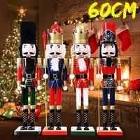 60CM Wooden Nutcracker Doll Soldier Vintage Handcraft Walnut Puppet Toy Christmas Decoration Kids Gift Office Home Decor Display