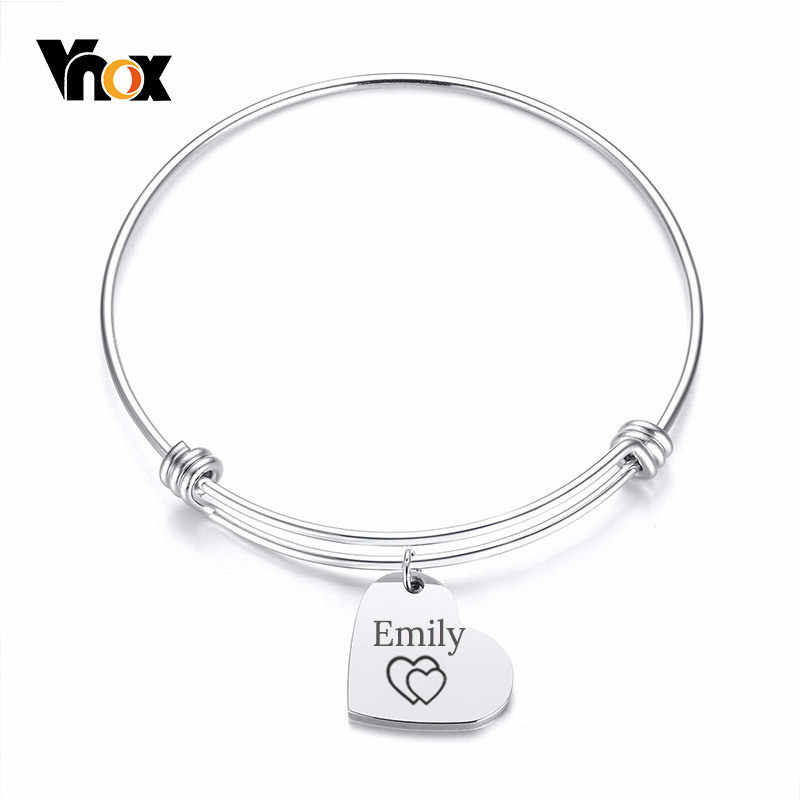 Vnox Heart Charm Expandable Wire Bangle Bracelet Adjustable Stainless Steel ID Tag Customize Free Engraving Name Date Love