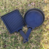 2PC Detachable Outdoor Steak Cooking Frying Pans Iron Non stick Camping Cookware Grill Cooker Pot Set with Portable Carrying Bag