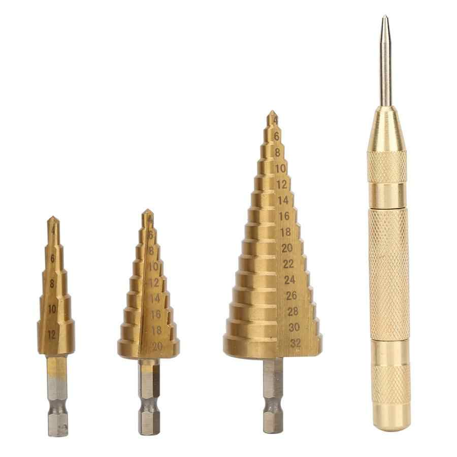 High Quality  4pcs 1 Bag HSS Hex Handle 4-12/4-20/4-32 Step Drill Bit Set Center Cone Drill Bit