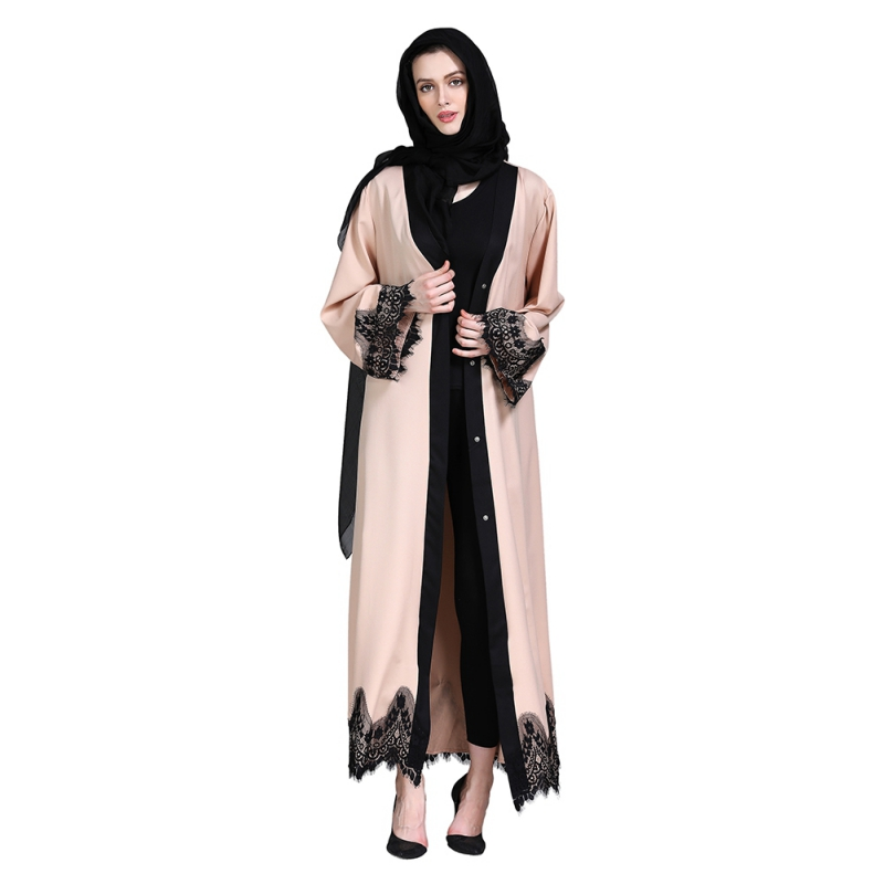 Fashion Lace Patchwork Apricot Cardigan Islamic Clothing 2019Female Dubai Abaya Muslim Kimono Prayer Service