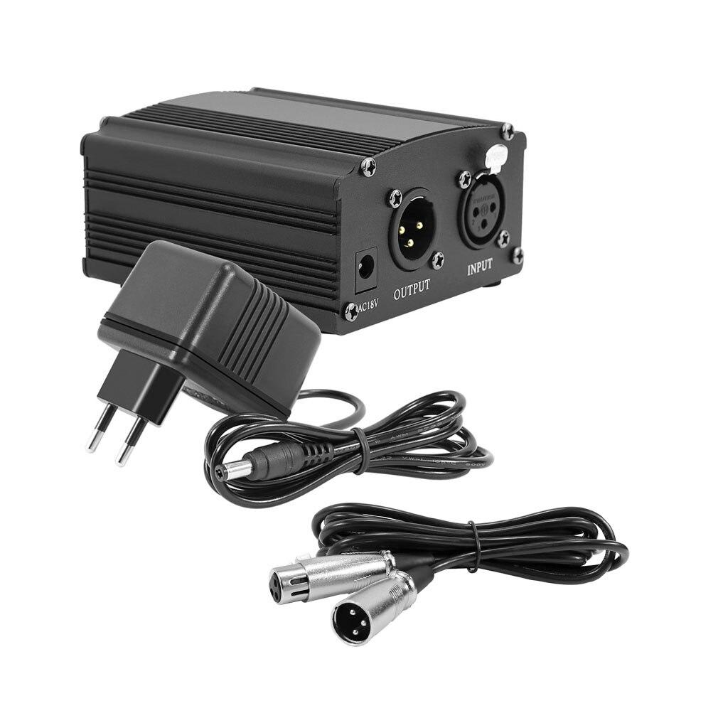 Para Bm 800 48 V Phantom Power De Alimentação com Adaptador de Microfone XLR Cabo de Áudio para o Condensador Micro Karaoke Microfone Mikrofon