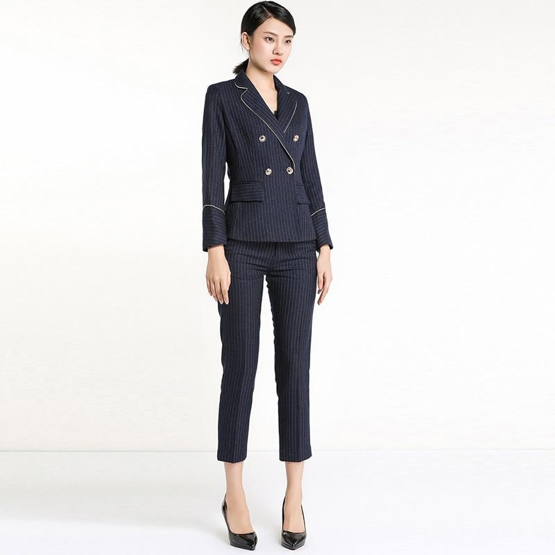 Ufficio Donna Giacca A Donne Vestito Strisce Eleganti Set Per Lavoro rxeCQoWEdB