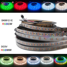 DC5V 1m/4m/5m SK6812 (similar ws2812b) 4 color in 1 RGBW+NW/CW/WW led strip light 30/60/144 leds/m IP30/IP67 addressable sk6812 ring ws2812b ring full color rgbw small circle 5v built in point control circular ring lamp board