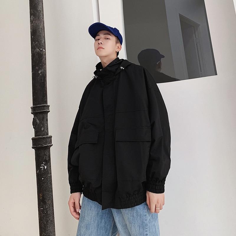 Streetwear Tendance Homme Hop Décontracté Black Bomber nacarat Hommes Printemps Solide Capuchon Veste À Couleur Hip Sauvage apricot Nouvelle Lâche Mâle Mode De LzpqSUGjVM