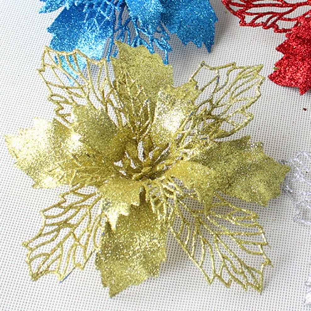 18 センチメートルグリッター人工花のクリスマスツリーウェディングパーティー偽の花の家の装飾用品