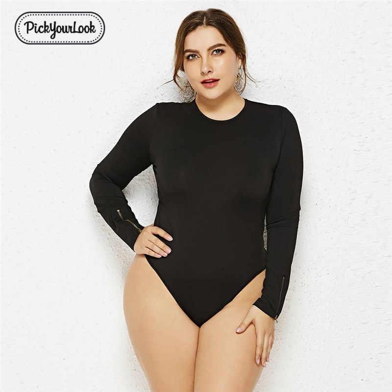 5d45d27d237 Pickyourlook Women Romper Plus Size Solid Long Sleeve Bodysuit O Neck  Sheath Jumpsuits Casual Large Size