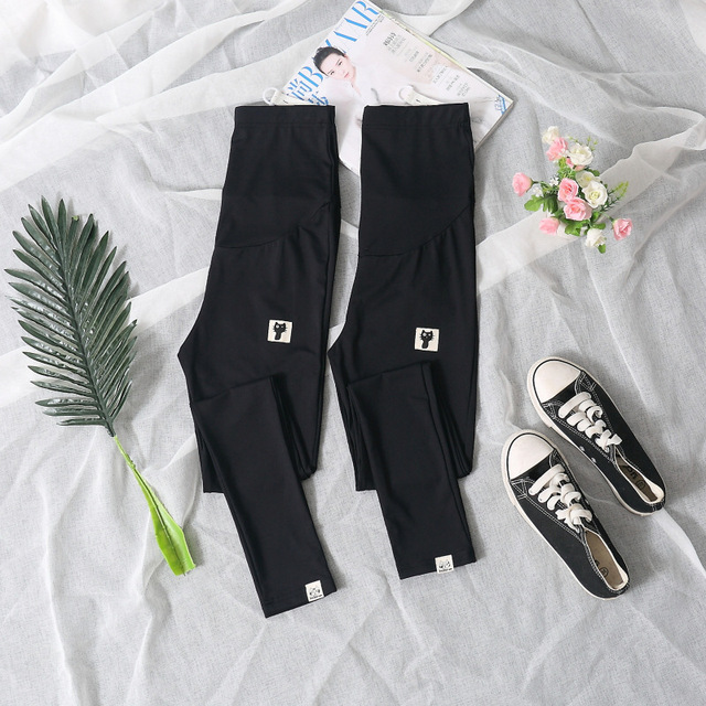 Summer Thin Section Pregnant Women Nine Pants Maternity Clothes Pregnant Women Leggings Feet Pants Solid Color Kitten Leggings