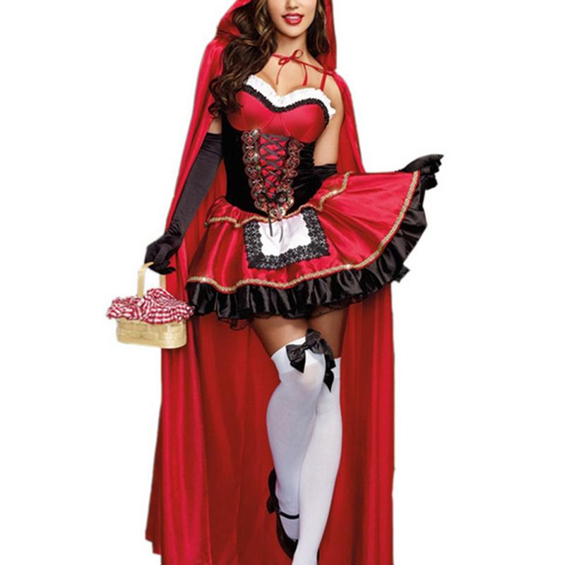 Little Red Riding Hood Costume For Women Fancy Adult Christmas Cosplay Fantasia Carnival Fairy Tale Plus Size Girl Dress+Cloak