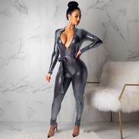 Sexy Overalls Women Bodycon Glitter Jumpsuit Zipper V Neck Long Sleeve Tied Waist Sequin Shinny Bandage Romper female Clubwear