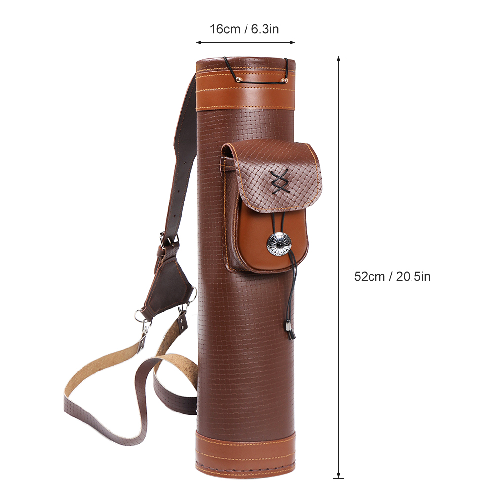 Image 5 - Cow Leather Archery Quiver Arrow Shooting Hunting Bag Back Shoulder Storage Bag Carrier Shoulder Tube Arrows Holder-in Bow & Arrow from Sports & Entertainment