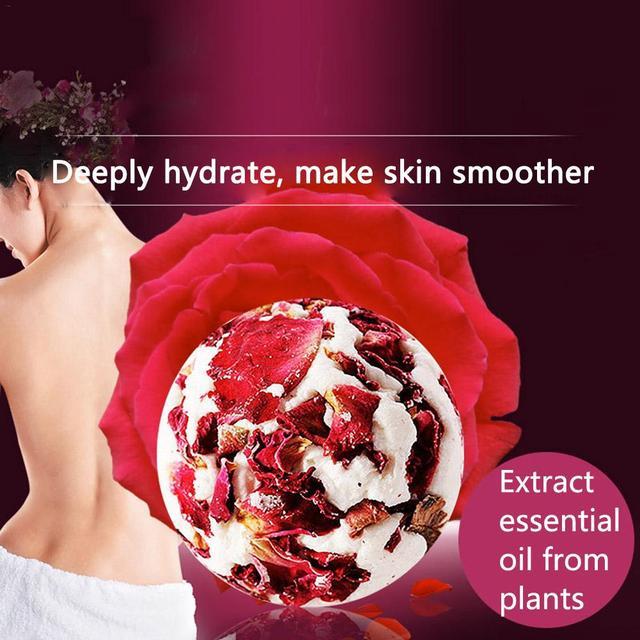 1pc Rose Essential Oil Bath Salt Ball Skin Moisturizing Soften Cuticle Relieve Fatigue Bubble Bathing Ball Bathing Supplies