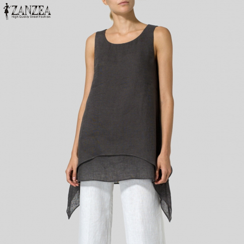 2019 ZANZEA Summer Tunic Women Blouse Sleeveless Top Casual Female Office Tanks Top Shirt Party Beach Blusas Camis Plus Size 5XL(China)