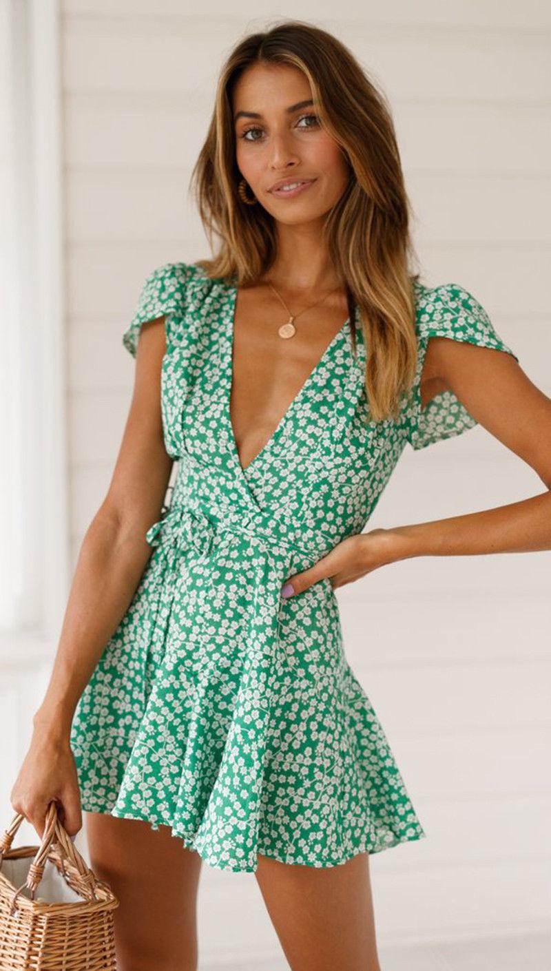 Fashion Women's Summer Dress Women Boho V Neck Floral ...