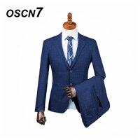 OSCN7 3PCS Blue stripes Tailor Made Suits Men Gentleman Patch pocket Wedding Dress Custom Made Suit Men Fashion Tuxedo DM 015