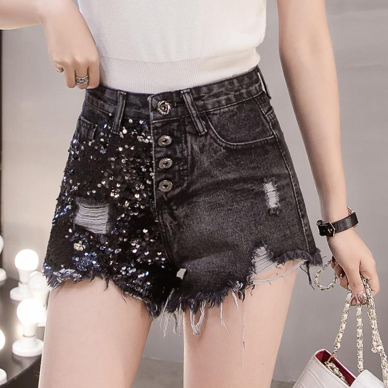Casual Black Denim Shorts Women 2019 Summer Korean Fashion Streetwear Sexy Sequin Tassel Ripped High Waisted Jean Shorts Ladies