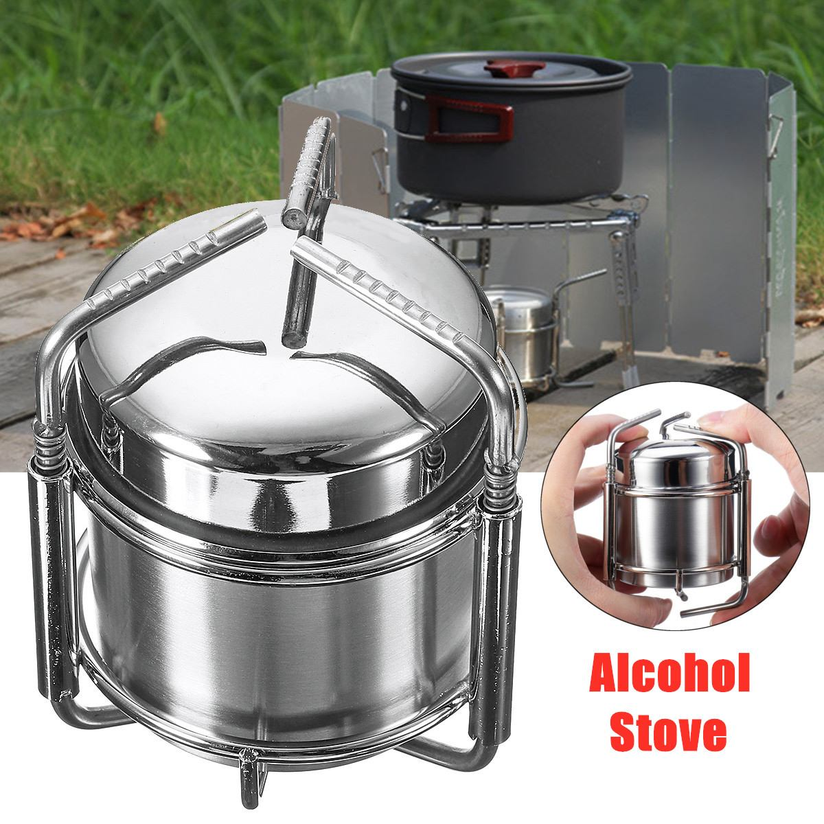 Camping Outdoor Alcohol Stove Portable Picnic BBQ Cooking Stove Stainless Steel Cookware Storage Bag Hiking Backpacking Cooker