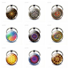 Fashion Sri Lanka Yantra Mandala Pattern Glass Jewelry Dome Keychain Buddhist Pendant Silver Key Chain Handmade Indian Gift(China)