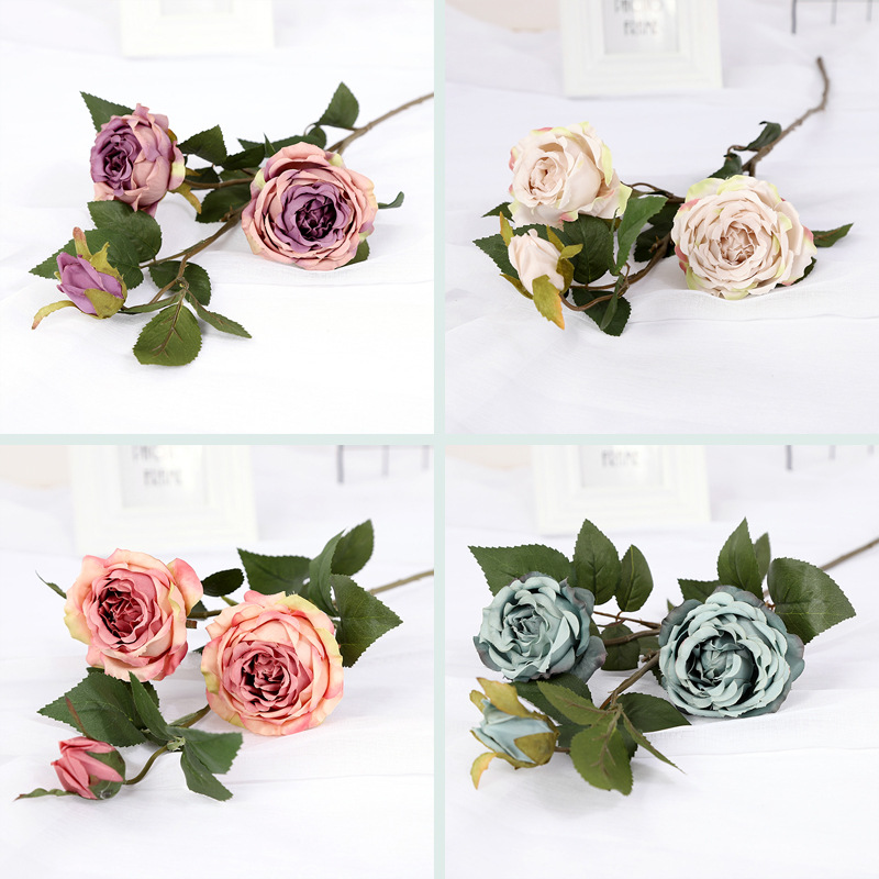 Simulated Rose Bundle Spot European Simulated Silk Wholesale Wedding Home Rural Permanent Decoration Fake Flowers in Artificial Plants from Home Garden