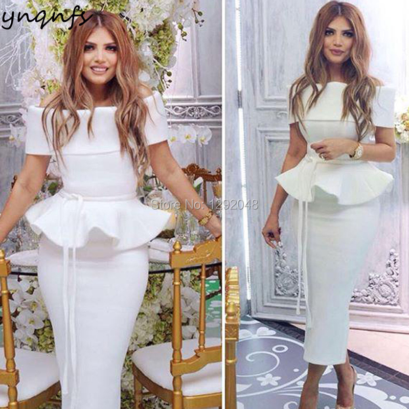 YNQNFS E12 Elegant Off Shoulder Tea Length Satin Off White Party Gown Robe   Cocktail     Dresses   2019