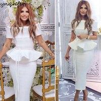 YNQNFS E12 Elegant Off Shoulder Tea Length Satin Off White Party Gown Robe Cocktail Dresses 2019