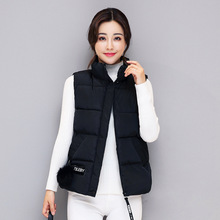 Autumn New Korean Edition Feather Down Cotton vest Womens Thickened Standing Collar Vest Coat