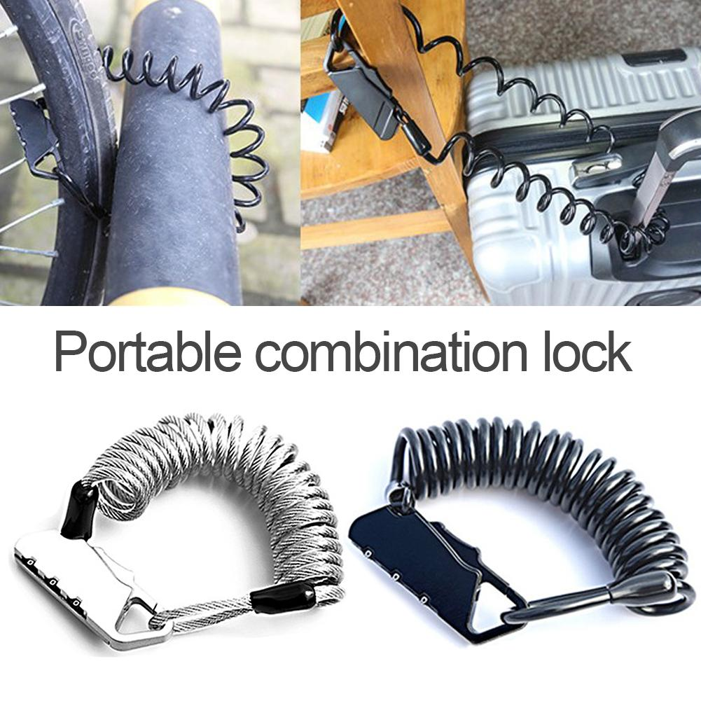 Anti-theft Mini Bike Lock Backpack Cycling Helmet Motorcycle Cable Lock 3 Digit Combination Motorcycle Lock