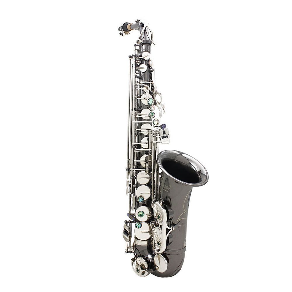 Professional Brass Bend Eb E flat Alto Saxophone Sax Black Nickel Plating Abalone Shell Keys with