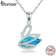 BAMOER Romantic New 925 Sterling Silver Blue CZ & Elegant Swan Pendant Necklaces for Women Sterling Silver Jewelry Collar SCN303(China)