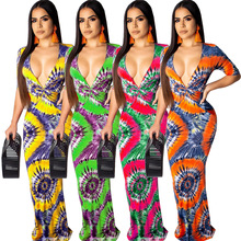 Summer European And American Sexy Fashion Printed V-neck Dress Long