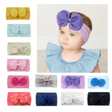 New Fashion Baby Girl Headbands Bow Baby Hair Band Newborn Baby Kids Princess Big Bow Knot Nylon Headband Hair Band Hairband(China)