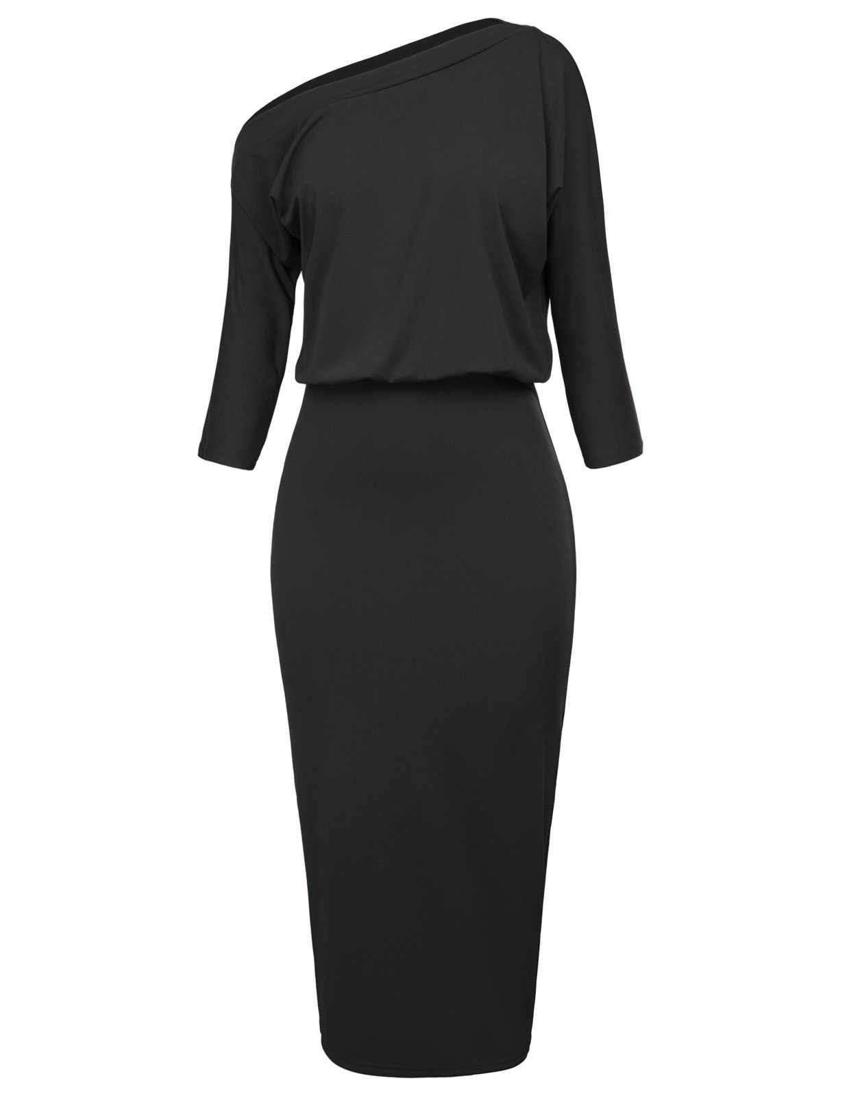 GK Sexy party pencil dress Women classy three quarter sleeve One Shoulder  Hips-Wrapped Bodycon f5e30fddc691