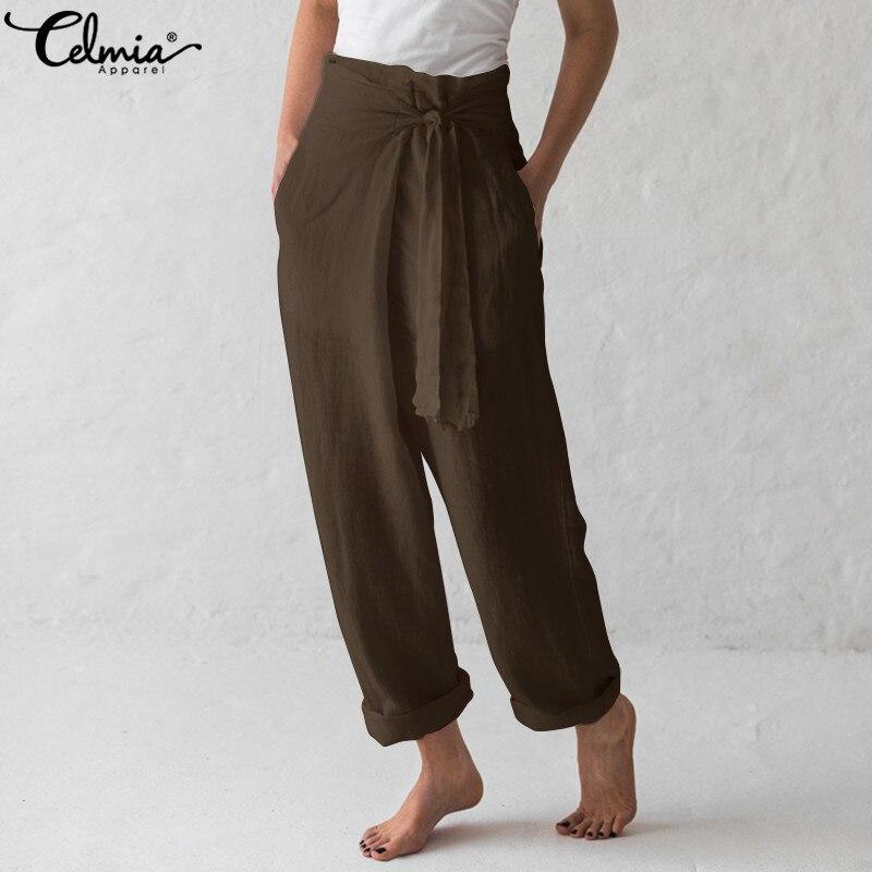 Celmia Plus Size Vintage Women   Wide     Leg     Pants   2019 Casual High Elastic Waist Harem Trousers Loose Pleated Palazzo Pantalon Femme