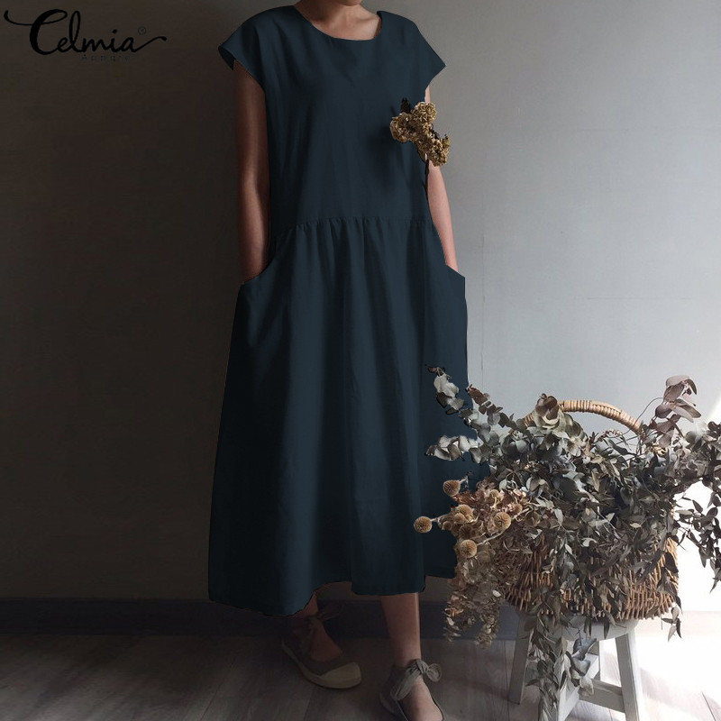 cbb403372 Celmia Plus Size Sundress Women Long Shirt Dress Casual Short Sleeve  Pleated Linen Maxi Dress Loose